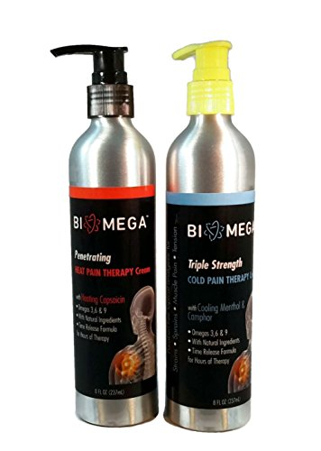 BioMega Penetrating Heat Pain Therapy Cream 8 fl. oz.(1 Bottle) and BioMega Triple Strength Cold Pain Therapy Cream  8 fl. oz (1 Bottle) by Biomega