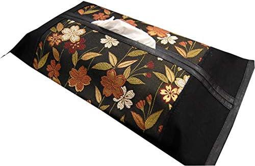 和モダン 金襴ティッシュケース(ボックス用) 帯風 和風 ティッシュカバー (桜)