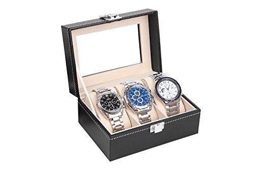 MyBeautyworld24 Uhrenkasten Uhrenbox Uhrenkoffer Aufbewahrung Aufbewahrungsbox Uhrenschatulle für 3 Uhren
