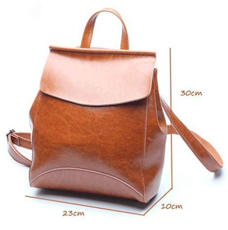 De Cuero Brown M Piel Dmmw Aceite Size Mujeres Mochila color Brown Moda Bolso Las 5I6Rq