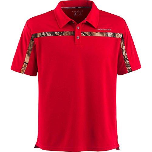 Legendary Whitetails Mens Trailhead Polo (Scarlet, (Camo Polo Shirts)