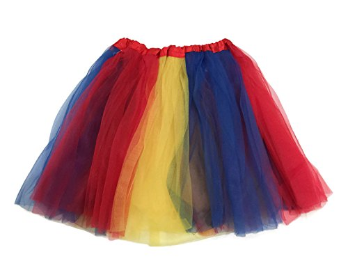 Rush Dance Multi Color Women's Costume Ballet Warrior Dash Run Tutu (Adult, Yellow & Royal Blue & Red (Snow White))