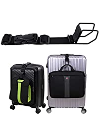 Luggage Hook strap,J hook for add a bag luggage,multi Adjustment bag strap hook with hands free(Black-Large Size)