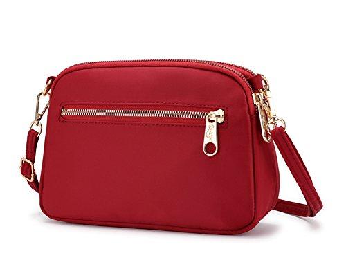 Collsants Small Crossbody Purse Mini Nylon Travel Shoulder Bag Multi Zipper Pockets (Red)
