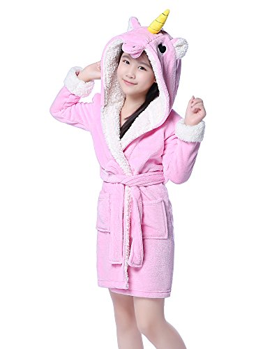 Price comparison product image NEWCOSPLAY Children's Unicorn Hooded Bath Robe (5-7 Years, Pink Unicorn)