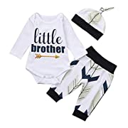 Sharemen Baby Letter Long Sleeve Romper Tops Pants Hat Outfit for Baby Boy (White, 3-6 Months)