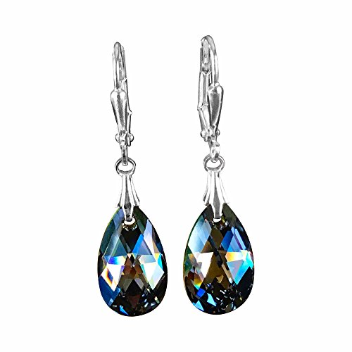 HisJewelsCreations Rainbow Dark Black Earrings with Crystal from Swarovski (Petite) (Black Rainbow Crystal)