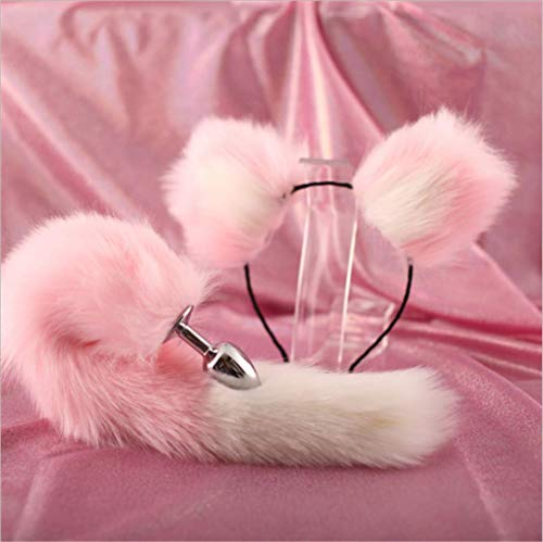 Make life wonderful Pink & White Three Sizes Fluffy Faux Fox Tail & Cat Ears Headband Charms Role Play Costume Party Masquerade Cosplay Prop (Pink & White, S) -