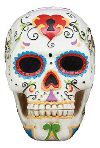 Ebros White Floral Sunny Day of the Dead Sugar Skull Statue Colorful Pastel Resin Figurine Skeleton Cranium Dia De Muertos Calacas As Gothic Display Model Sculpture -