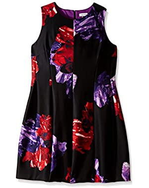 Calvin Klein Women's Plus-Size Sleeveless Printed Floral Fit and Flare Dress