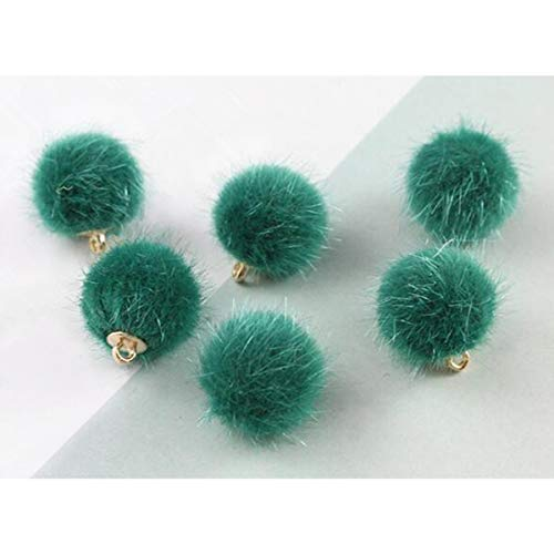 Artificial Fluffy Fur Mini Ball Pendant Necklace DIY Earrings for Jewelry Making Adults Beads Handcrafted Accessories (6pcs Malachite Green)