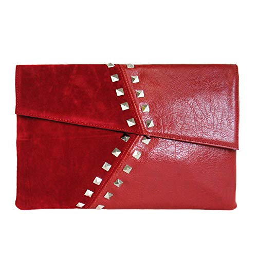 JNB Synthetic Leather/Suede Block Stud Envelope Clutch, Red ()