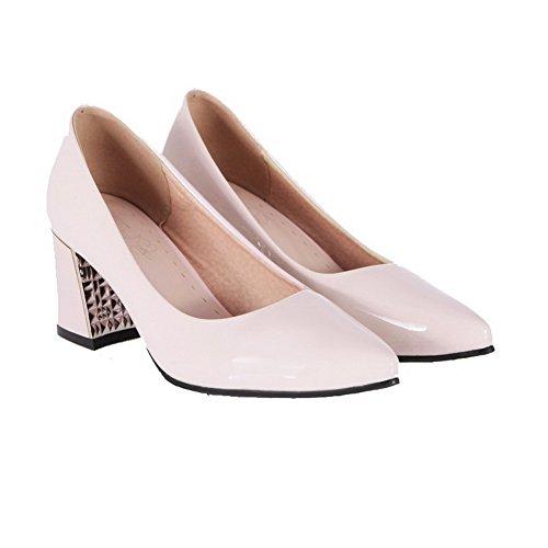 AgooLar Damen Spitz Zehe Ziehen auf PU Eingelegt Mittler Absatz Pumps Schuhe, Golden, 43