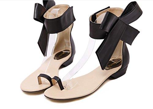 YCMDM Sandali Moda Grandi fiori di Bowknot piatto con sandali tacco basso Side-Tooth sandali primavera-estate , black , 40