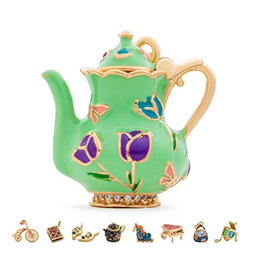 CHARMULET 14k Plated Gold - Green Color - Interactive Teapot Charm - Compatible with Charm Bracelet by Charmulet - Gift Box Included ()