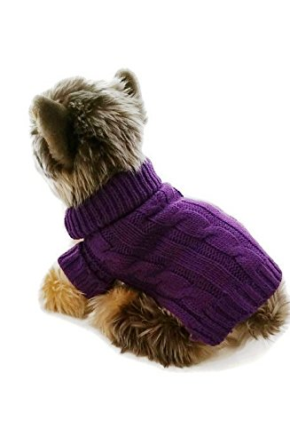 (Le Petit Chien Small Dog Puppy Sweater (X-Small 8 to 10 inch, Purple))