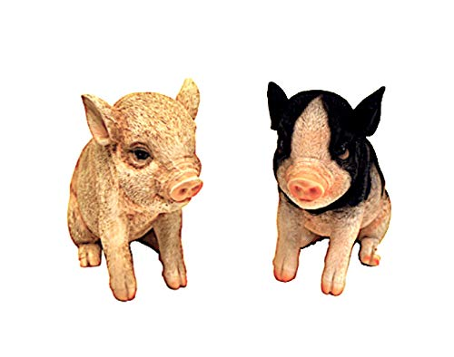 - Small Animal Figurines Collectible Statues Farmhouse Barnyard Decor Set of 2 Pigs 3.5