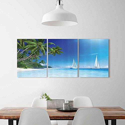 Frameless Sailboats ach Palm Tree Clearwater Tropics Tourist Attractis Vacati for the kitchen, dining room, living room, bar and so on W12