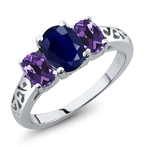 2.49 Ct Oval Blue Sapphire Purple Amethyst 925 Sterling Silver 3 Stone Ring (Sapphire Trellis Ring)