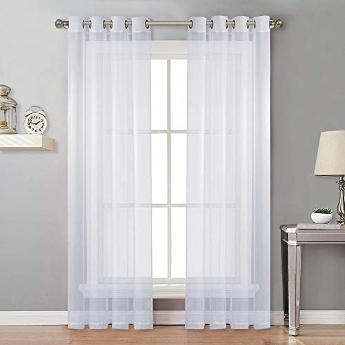 (NICETOWN Sheer Window Curtain Panels - Solid White Panels / Drapes with Grommet Top (2-Pack, 54 Wide x 96 inch Long, White))