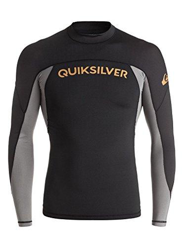 Quiksilver Men's Performer Long Sleeve Rashguard, Black/Quiet Shade, Large