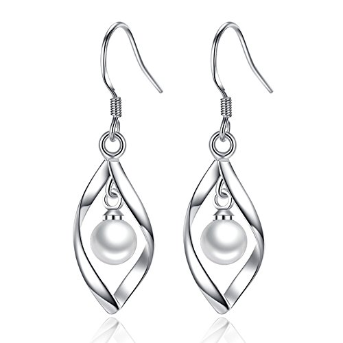 Women's Classical Freshwater Cultured Pearl Dangle Earrings White 925 Sterling Silver