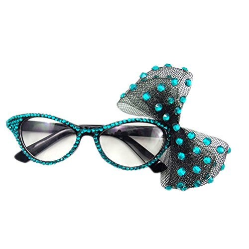 Blue Eyes Lens (PET SHOW Fashion Rhinestone Cat Eye Women Girls Party Fancy Dress Glasses With Big Bowknot Color Lake Blue Pack of 1)