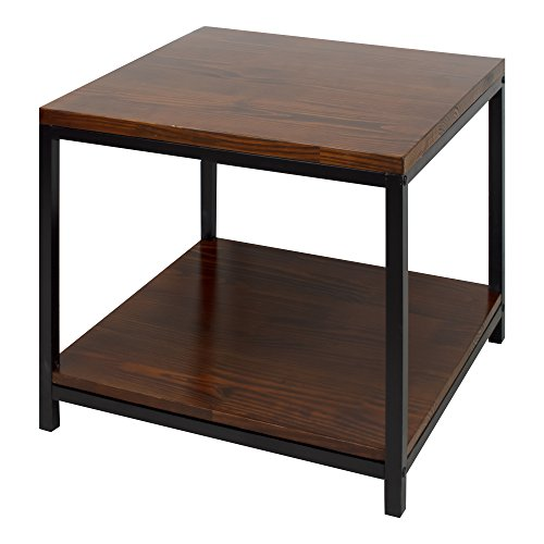 Casual Home Metro End Table with Black Frame, Mocha
