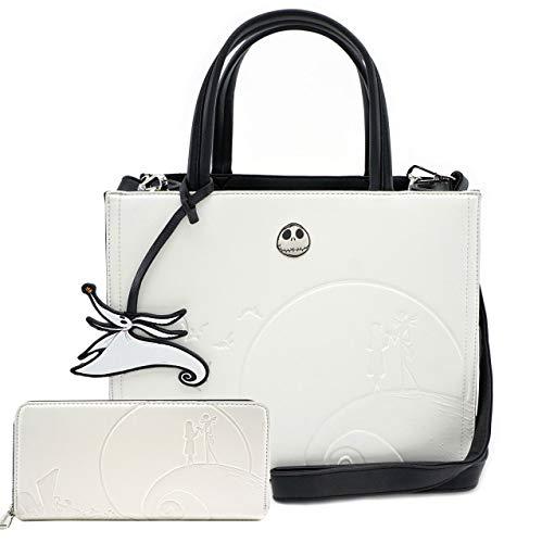 Loungefly The Nightmare Before Christmas Debossed Cream Satchel Handbag Wallet Set (Cream)