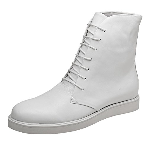 Santimon Mens Boots High Top Leather Platform Lace up Hiking Shoes White