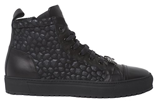 John Galliano 6549 Italian Mens Black Stone Carved Leather Sneakers with Laces and Zipper