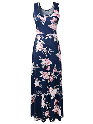 Luckco Women's Sleeveless Floral Print Causal Long Maxi Beach Tank Dresses Medium ()