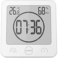 WINOMO Alarm Clock Timer Waterproof Temperature Humidity Meter Bathroom Suction Clock