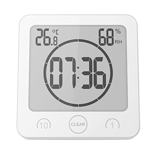 Price comparison product image WINOMO Alarm Clock Timer Waterproof Temperature Humidity Meter Bathroom Suction Clock