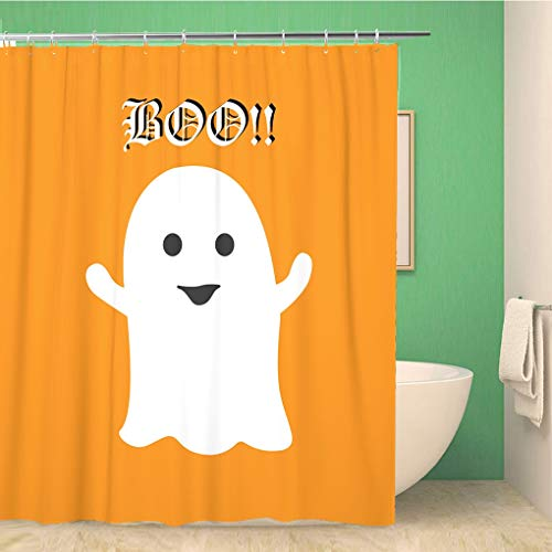 Awowee Bathroom Shower Curtain Autumn Cute Halloween Ghost Saying Boo on Orange Holiday 72x72 inches Waterproof Bath Curtain Set with Hooks]()
