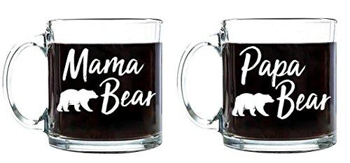 (Papa Bear - Mama Bear Fathers/Mothers Day Birthday Gift for Dad Mom Tea Coffee Mug Beverages Clear Glass Mugs (Mama/Papa Bear Set, 13 oz.))