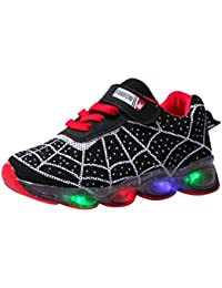 2020 Children Kids Cartoon Spider Web LED Luminous Soft-Soled Sneakers Light Shoes, Suit for 15 M-11.5Y (3.5-4Years, Black)