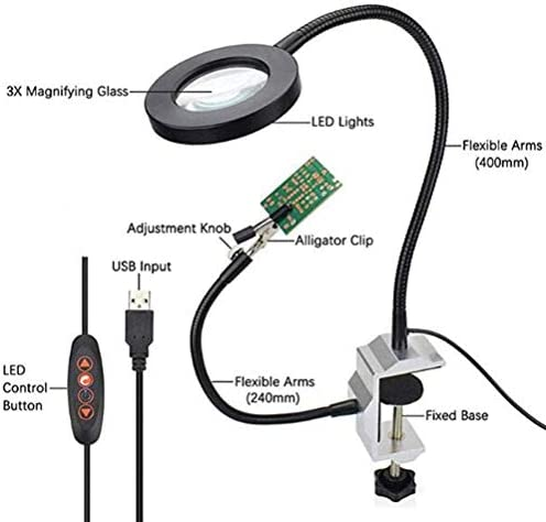 Led Light Helping Hands Magnifier Station - 3X Heavy Duty Third Hand Soldering Magnifying Glass with Light Stand with Auxiliary Clamp Alligator Clips - for Soldering,Hobby