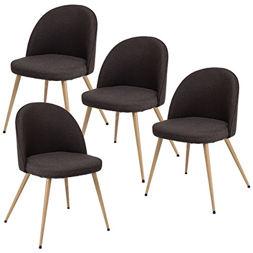 - Giantex Set of 4 Accent Arm Chair For Living Room Fabric Cushion Seat Metal Leg Dining Chair (Brown)
