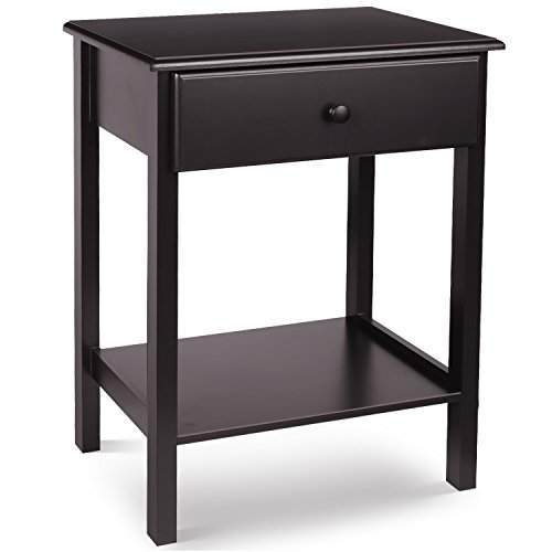 HOMFA Wooden Night Stand with Drawer and Shelf Storage Multipurpose End Side Table Home Furniture, Retro Color