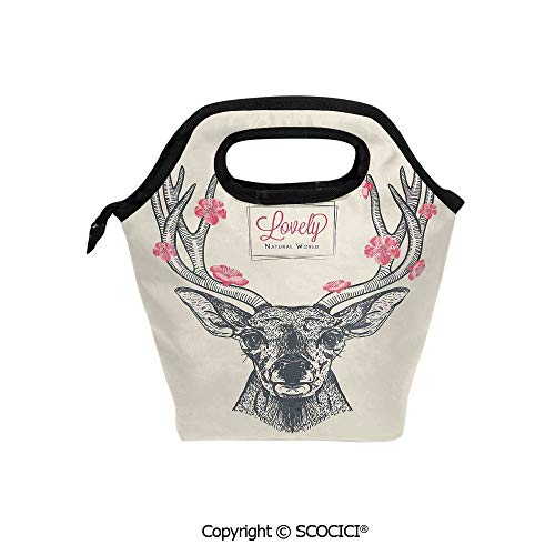 Portable thickening insulation tape Lunch bag Deer with Flowers Blooms Lettering Lovely Natural World Background for student cute girls mummy bag.