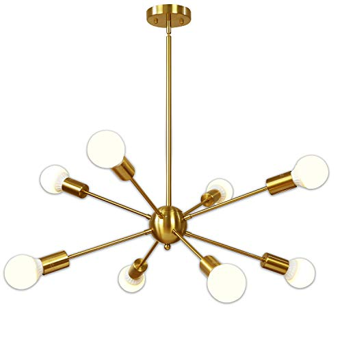 (Sputnik Chandelier 8 Light Brushed Brass Pendant Lighting Gold Mid Century Modern Starburst-Style Ceiling Lighting Fixture for Dining Room Kitchen Bedroom Foyer by VINLUZ)