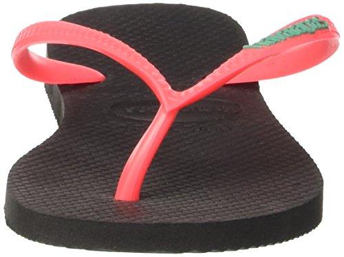 coralnew Negro black Slim Mujer Logo Havaianas Para Chanclas qg0Bw7z