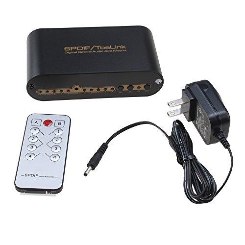 AGPtek® Digital Optical Audio True Matrix 4x2 Switcher/Spli