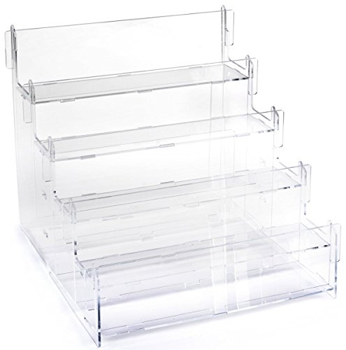 Displays2go Tiered Acrylic Step Riser Display with Four Rectangular Platforms – Clear - Platform Tiered