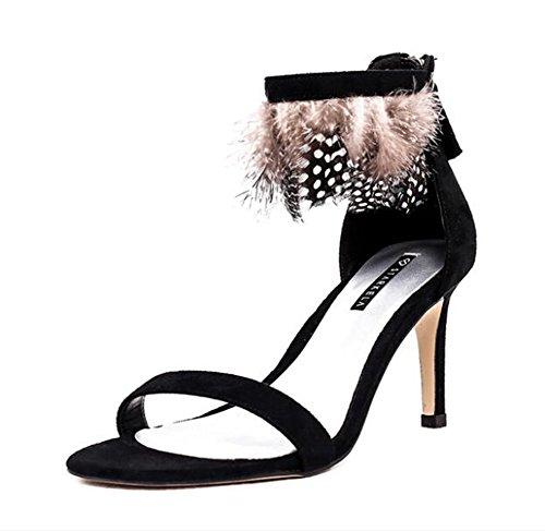 QIONGQIONG Women's Shoes Summer Feather Zipper High-Heeled Sandals Black xddORa