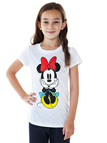 Disney Girls T-Shirt Minnie Mouse Front Back Speckled Confetti Print