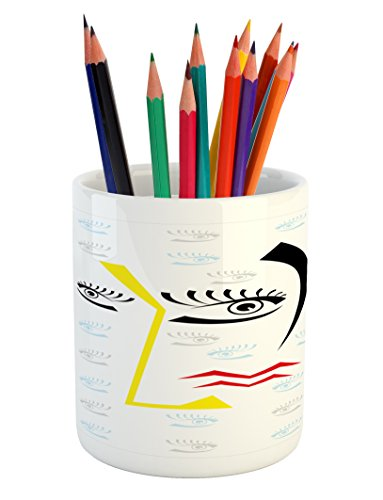 Ambesonne Modern Pencil Pen Holder, Abstract Trippy Artful Design with Fractured Human Face and Eyes Geometric Backdrop Image, Printed Ceramic Pencil Pen Holder for Desk Office Accessory, (Fractured Faces)