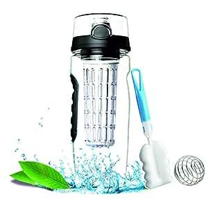 i4c Fruit Infuser Water Bottle - Large 32 OZ - Flip Top Lid, Dual Hand Grips, BPA Free Non-Toxic - (Black, 32 oz)