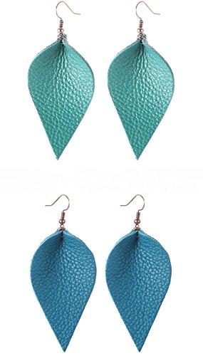 Zoomnovo Turquoise Blue Light Blue Green Dark Blue Tea Color Leather Leaf Teardrop (Leather Tea)